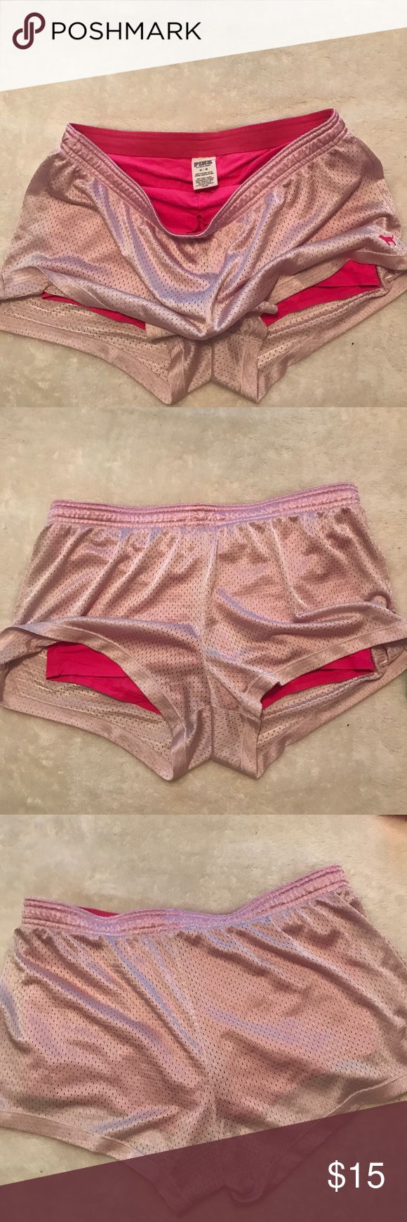 VS PINK Running Shorts (2 layers attached) Super comfy running mesh shorts with hot pink shorts underneath attached to each other. Good condition PINK Victoria's Secret Shorts