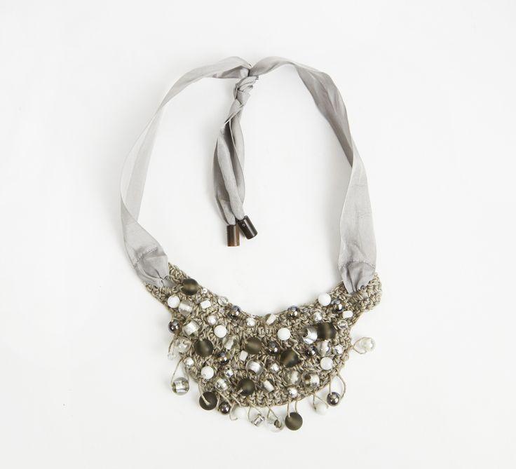 Brunello Cucinelli Dark Gray, Gray, White, And Silver Necklace