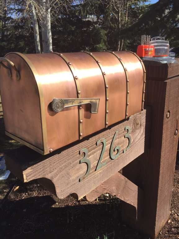 Riveted Post Mount Copper Mailbox With Brass Accents Outdoor Copper Mailbox Unique Mailboxes Rustic Mailboxes