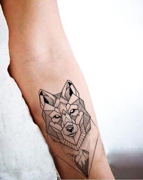 Beautiful modern wolf temporary tattoo