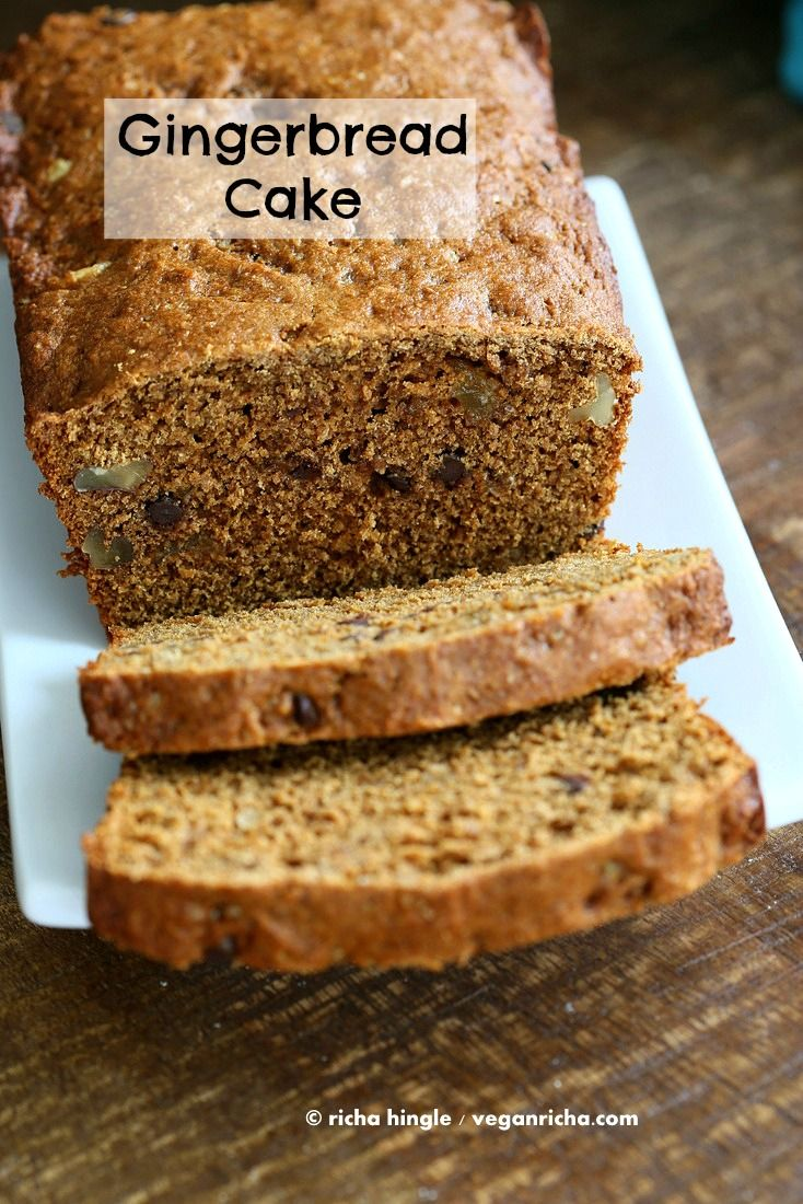 Vegan Gingerbread Cake with molasses, triple ginger, walnuts & chocolate | Vegan Richa