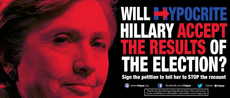 Hillary Clinton has until 12/7 to submit an objection to #Recount2016 in Michigan. Sign the petition to tell Hillary to stop the recount at http://migop.org/stop-the-recount
