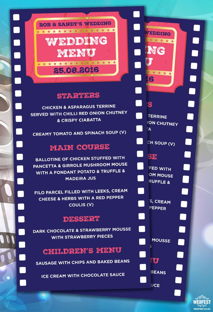 cinema movie themed wedding menu http://www.wedfest.co/cinema-and-movie-themed-wedding-stationery/