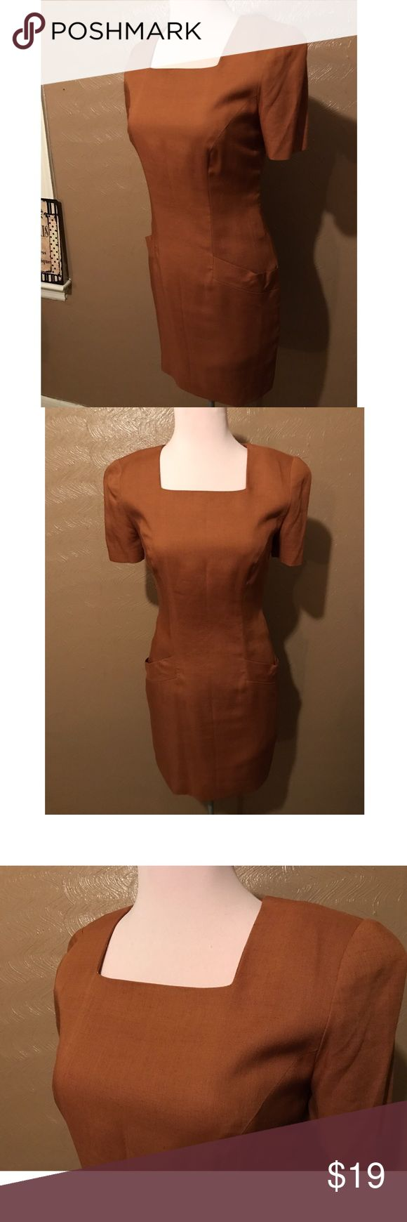 """Vintage, Mini Dress Copper/ Brown, Vintage Dress by """"Santa Fe by Jim Tremblay"""".                                                                    Dress stops above the knee, has shoulders pads & two functional pockets on the front. Size 4 with snug, shapely fit. This dress has No Defects.                                      **FYI:** - I do post and sell on other sites, so if this item is suddenly removed or not available, it means it has sold and won't be reposted - Feel free to make me an…"""