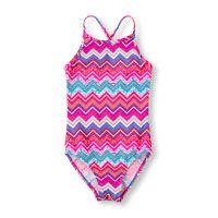 traje de baño de una pieza con rayas en forma de V y espalda cruzada