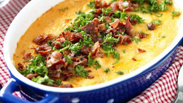 Gör en gratäng snabbt och lätt med vårt läckra recept. Bacon på toppen ger mustig smak!