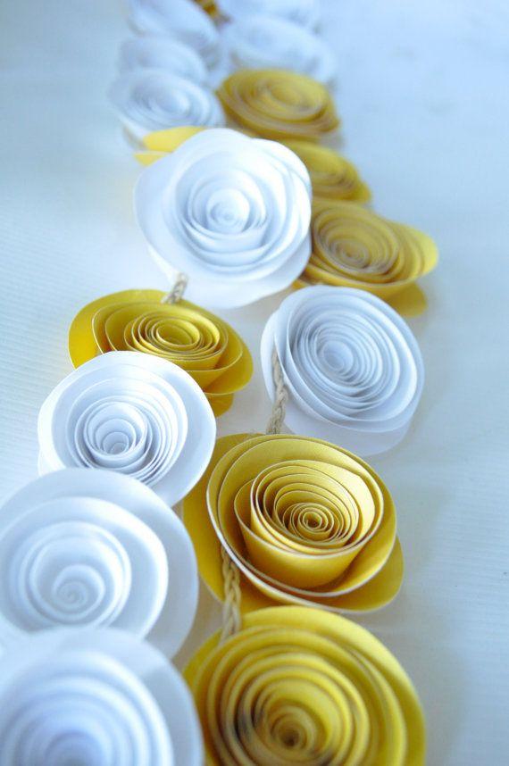 Yellow Garland Paper Flower Garland Wedding Garland by lillesyster, $25.00