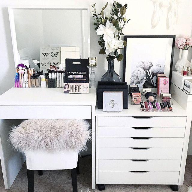 WEBSTA @ vanitycollections - Lazy Sundays .- IKEA Alex 6 Drawer unit- IKEA Stool- IKEA Mirror- Officeworks student desk.- All acrylic makeup storage @vanitycollections