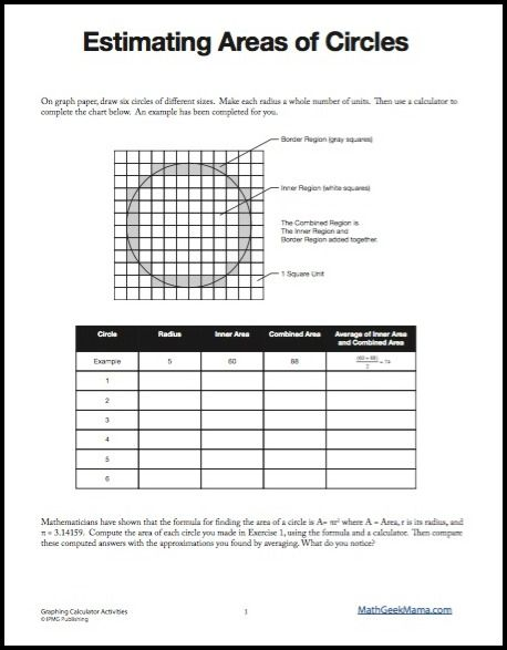 Estimating Areas of Circles activity