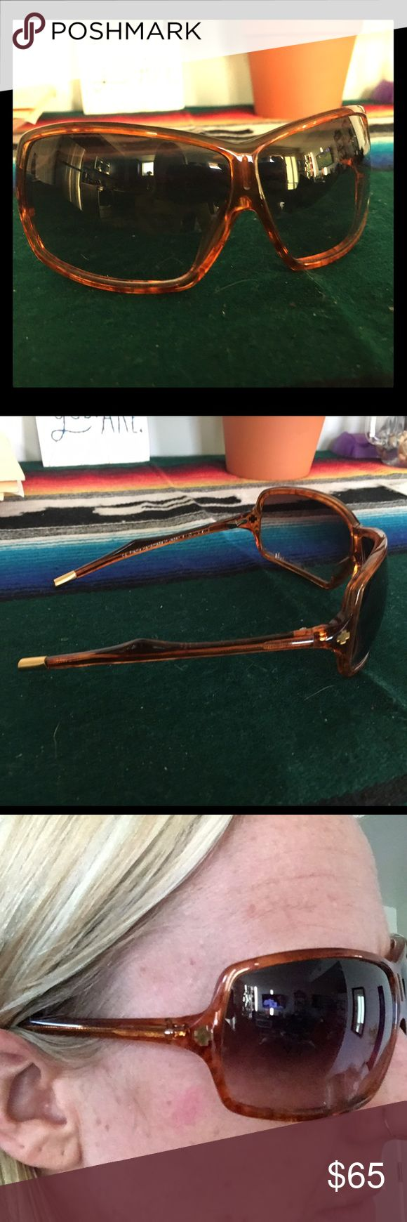 """SpyOptic unique orange shades Worn once! Somewhat squared lenses. Orange tortoise color with gold tips. I have a little larger sized head and they are too snug. In great condition. Some wearing on the case just due to storage. """"SpyOptic Hand Crafted"""" windows for your head. SPY Accessories Sunglasses"""