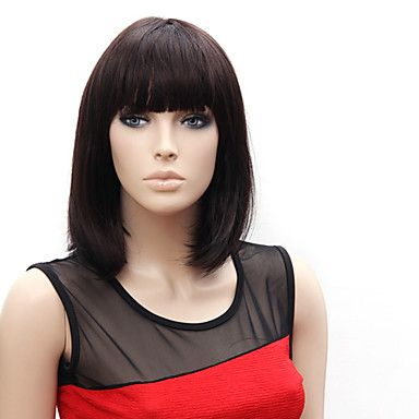 Capless Short High Quality Synthetic Japanese Kanekalon Straight Simple Style Wig Full Bang – ILS ₪ 110.16