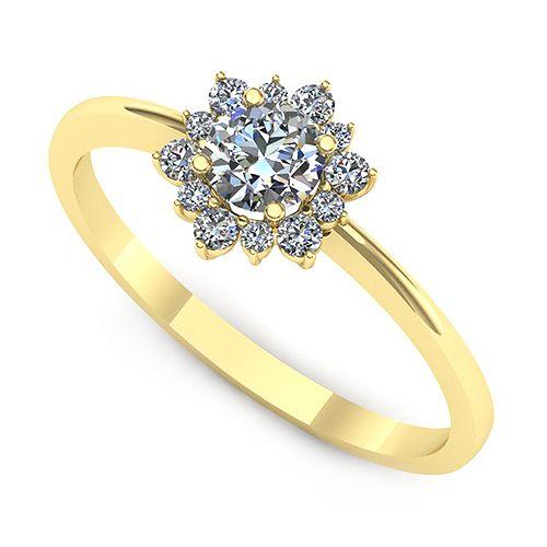 Inel logodna F91GDI * Piatra principala: 1 x diamant, dimensiune: ~3.80mm, culoare: G, claritate: VS2 * Pietre secundare: 6 x diamant, dimensiune: ~1.50mm, greutate totala: ~0.10ct, forma: round; 6 x diamant, dimensiune: ~1.10mm, greutate totala: ~0.04ct, forma: round
