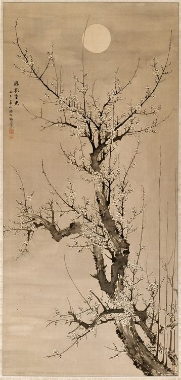 iamjapanese: YAMAMOTO Baiitsu(山本 梅逸 Japanese, 1783-1856) Prunus in the Moonlight 1846 ink on silk ©2013 Detroit Institute of Arts