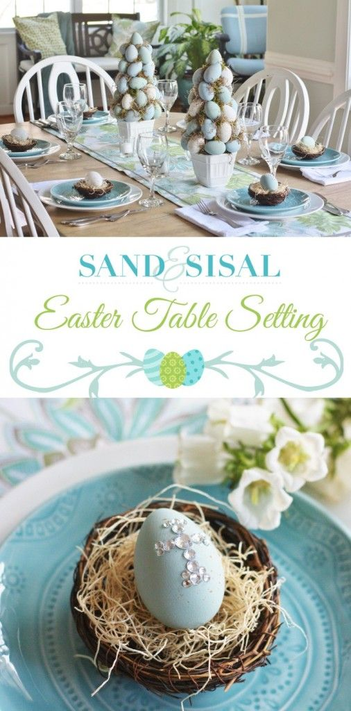 Beautiful robin's egg blue and spring green Easter Table Setting and Easter decorations ideas.