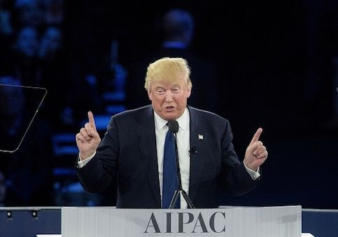 Donald Trump addresses the 2016 American Israel Public Affairs Committee policy conference at the Verizon Center March 21, 2016 in Washington, DC. / AFP / Brendan Smialowski (Photo credit should read BRENDAN SMIALOWSKI/AFP/Getty Images)