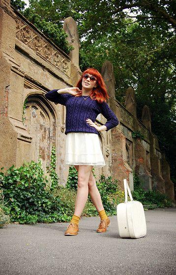 Navy Cable Knit Jumper, Vintage Cream Lace Night Dress, Mustard Ankle Socks, Tan Brogues, Vintage Cream Vanity Case