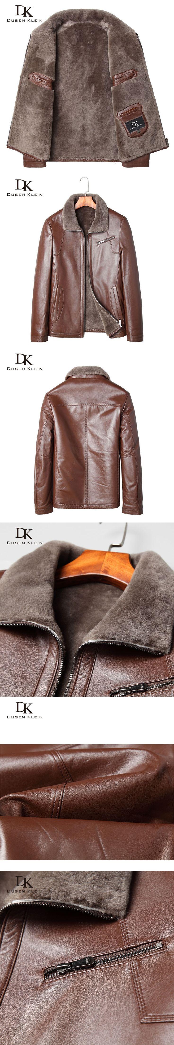 Brand Winter leather jacket wool coats mens Genuine sheepskin Dusen Klein New 2017 Brown Luxury wool leather clothing  71A1588