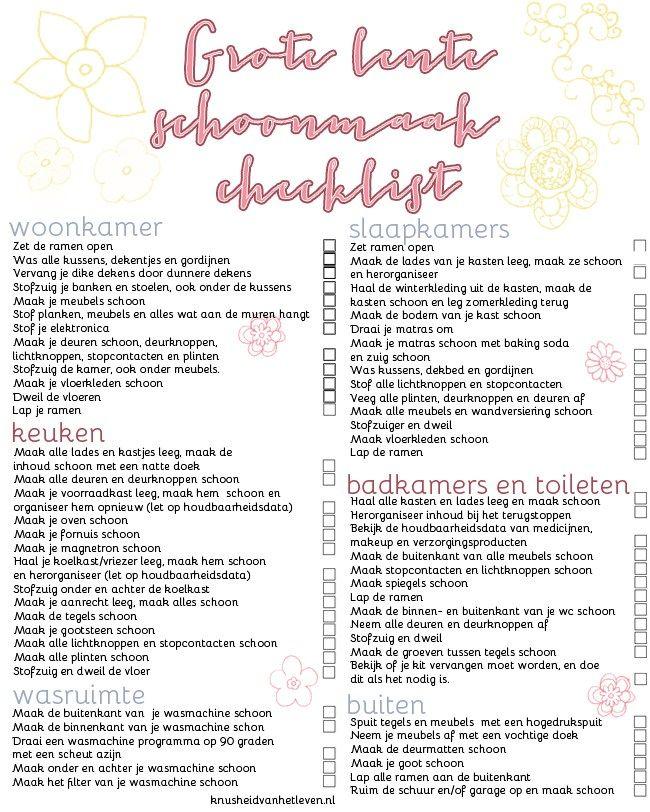 wee keer in het jaar begint het te kriebelen, het is tijd voor een grote schoonmaak! Afgelopen najaar deelde ik mijn 'grote herfst schoonmaak' lijst met jullie en vandaag is het tijd voor de grote lente schoonmaak lijst. Een printbare lijst waar de klusjes op staan die ik uitvoer tijdens mijn lente schoonmaak. Het schema…