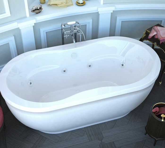 "Vivara 71.25"" x 35.87"" Oval Freestanding Whirlpool Jetted Bathtub with Center Drain"