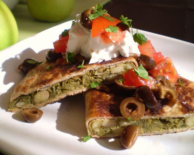 White Bean and Kale Pesto Quesadillas with Tomato-Black Olive Salsa ...