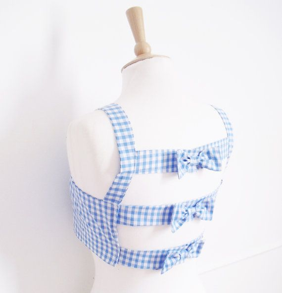 Open Back Top Gingham Crop Top Rockabilly Bra Top by Dollydripp, £30.00