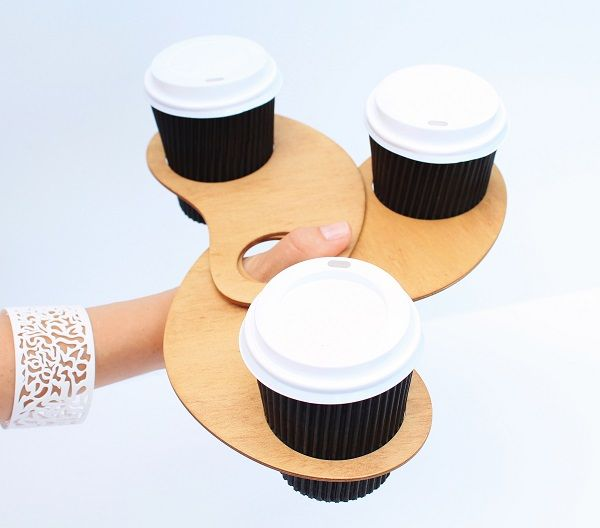 Coffee thumb coffee holders. Holding 3 coffees. Made from Certified Australian Hoop pine. By Mutating Creatures