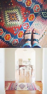 Vintage kilim rugs will instantly add the color, pattern and liveliness that belongs in a boho-style home. Don't be afraid to layer the kilims to cover an entire floor. It doesn't get much cozier than that!