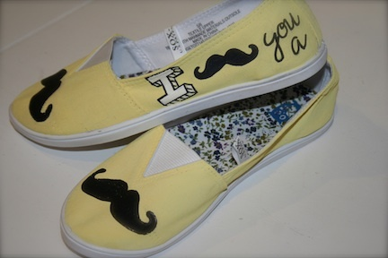 "I ""Mustache"" you a question... how cute are these shoes???"