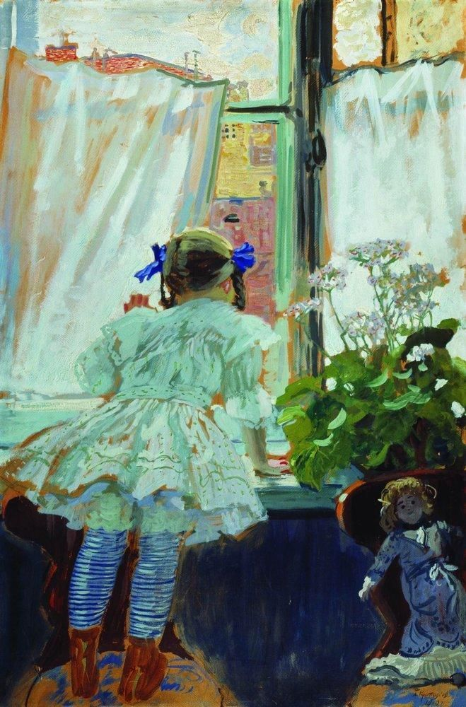 Boris Kustodiev (Russia, 1878 – 1927)  At the window. Portrait of I.B. Kustodieva, 1910