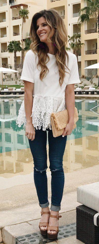 #winter #fashion / White Lace Top / Ripped Skinny Denim / Brown Platform / Beige Clutch