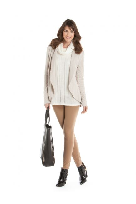 JACOB - French terry cardigan + mohair cowl neck sweater + ponte leggings http://www.jacob.ca
