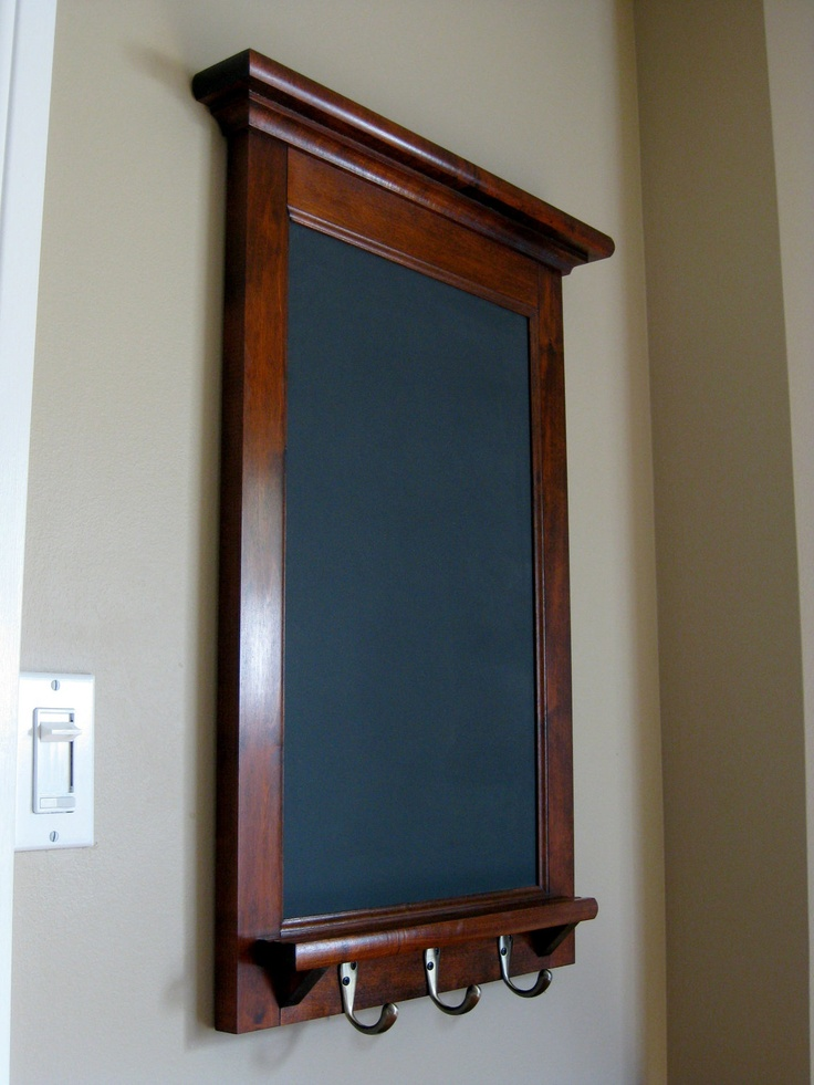 Maple framed chalkboard bulletin board or dry erase with for Cork board with hooks