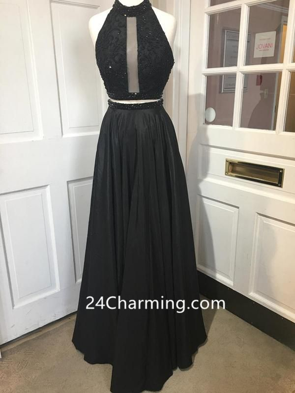e01ec623707d9 Two Piece Black Halter Prom Dresses Racer Back Evening Dresses With Pockets