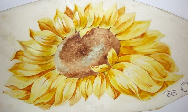 Duvelleroy vintage drawing for a fan #sunflower #yellow