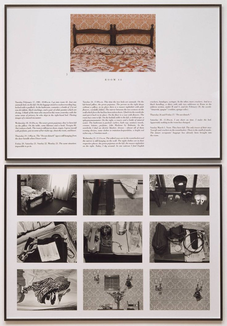 """The Hotel, Room 44 by Sophie Calle, 1981. """"On Monday, February 16, 1981, I was hired as a temporary chambermaid for three weeks in a Venetian hotel. I was assigned twelve bedrooms on the fourth floor. In the course of my cleaning duties, I examined the personal belongings of the hotel guests and observed through details lives which remained unknown to me."""""""