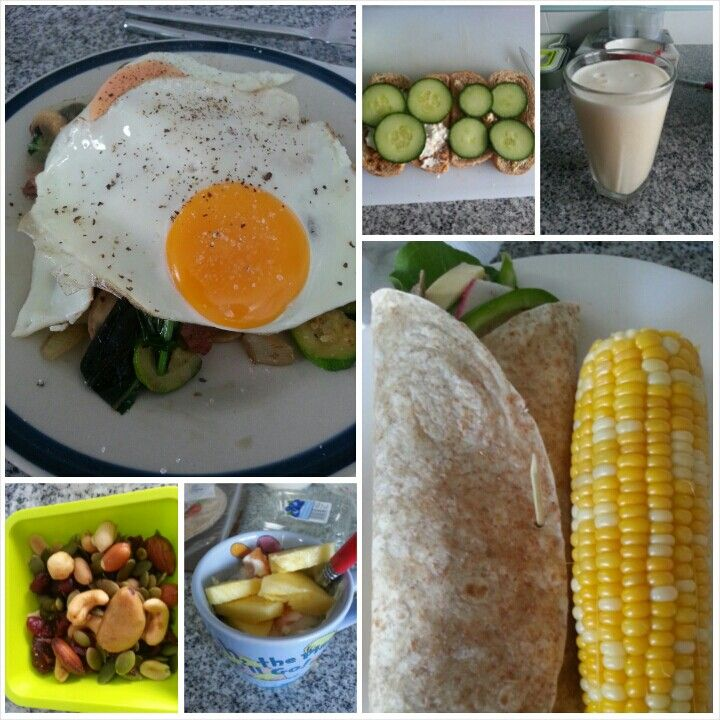 8 Feb 15  B: toast with cottage cheese and cucumber L: grilled veggies with 2 eggs S: tropical smoothie and a handful of nuts D: a lamb wrap and a cob of corn S: Greek yoghurt with blueberries, melon and pineapple