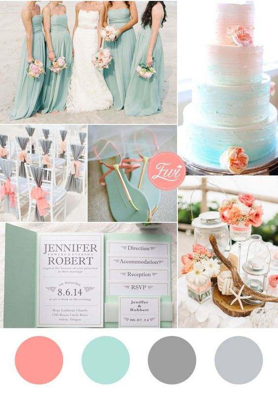 Soft and romantic wedding colors. Sea foam Beach Wedding Color scheme.