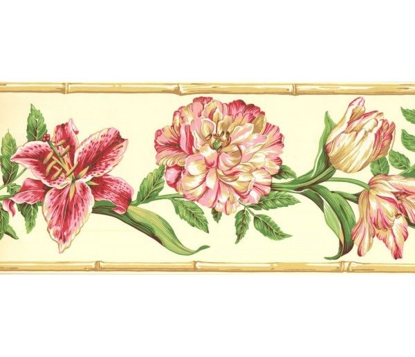9 In X 15 Ft Prepasted Wallpaper Borders Floral Wall Paper Border Ng8025b Floral Wallpaper Border Wallpaper Border Floral Wallpaper