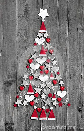 Christmas Tree Made Up Of Decoration On Grey Wooden Background - Download From Over 50 Million High Quality Stock Photos, Images, Vectors. Sign up for FREE today. Image: 34905392