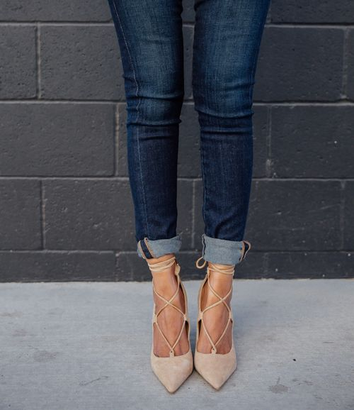 nude lace up pumps