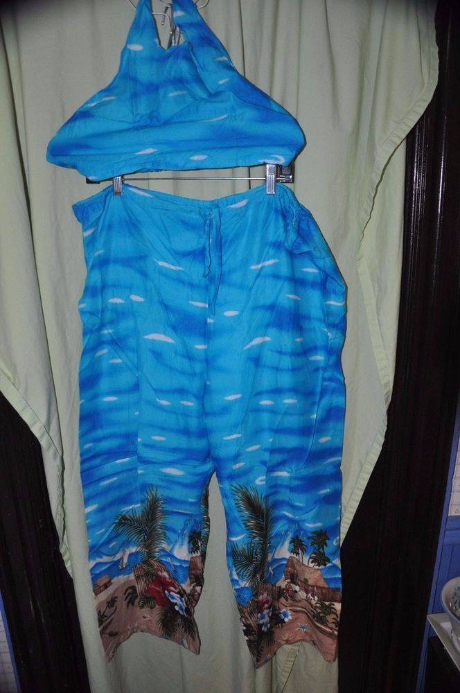 Banana Split Beach Wear Halter Top Rayon Palazzo Pants O/S 2 piece Bright Blue | Clothing, Shoes & Accessories, Women's Clothing, Pants | eBay!