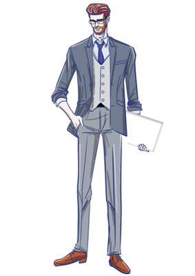 スーツを着て微笑む外国人男性のイラスト ポートフォリオ仕事の