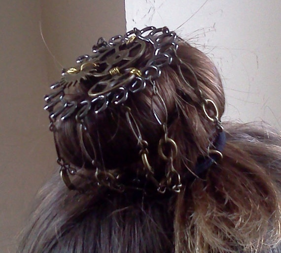 Steampunk Bun Cover Hair Accessory by CablesAndCogs on Etsy