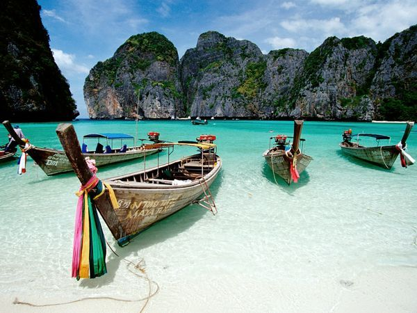 Maya Bay, Thailand  Photograph by Paul Quayle/Getty Images/Axion RM    After being devastated by the 2004 tsunami, the Phi Phi archipelago off the coast of Thailand has been restored to its pristine, idyllic state.
