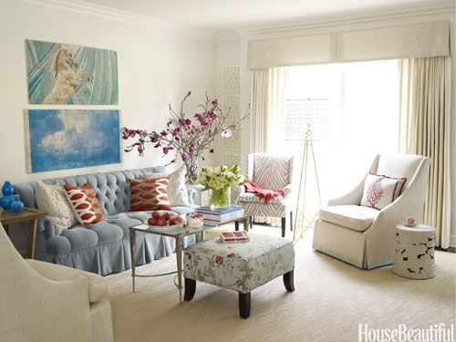 A Little Bit Pretty For Me But I Love The Powder Blue With The Dark Orange  And Fuchsia Pink Highlights. Designed By Melissa Warner   Living Room  Decorating ...