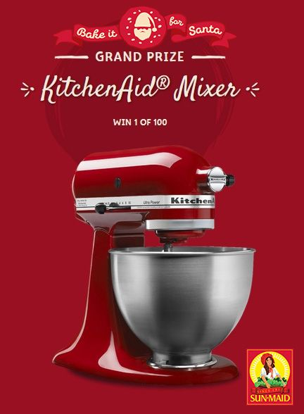 Enter our #BakeItForSanta contest for a CHANCE to WIN one of 100 KitchenAid Mixers! Visit www.bakeitforsanta.com to upload a creative, original, and eye-catching photo of your oatmeal raisin cookies. You can enter more than once and here's how: after you have submitted an online form via the Bake It For Santa website, enter via social media using both #BakeItForSanta & #Contest hashtags for a chance to WIN!