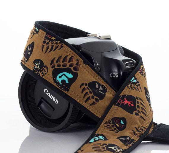 dSLR Camera Strap Bear Print Southwestern Canon Camera by ten8e