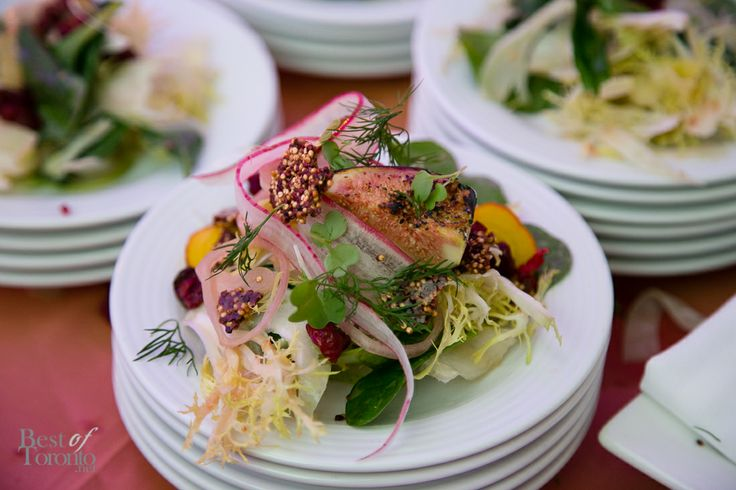 Pear and fennel salad with layers of textures from our O&B Caters launch party.  .  Photo: Best of Toronto #Toronto #Catering #Toronto #Food #Wedding #TorontoWedding