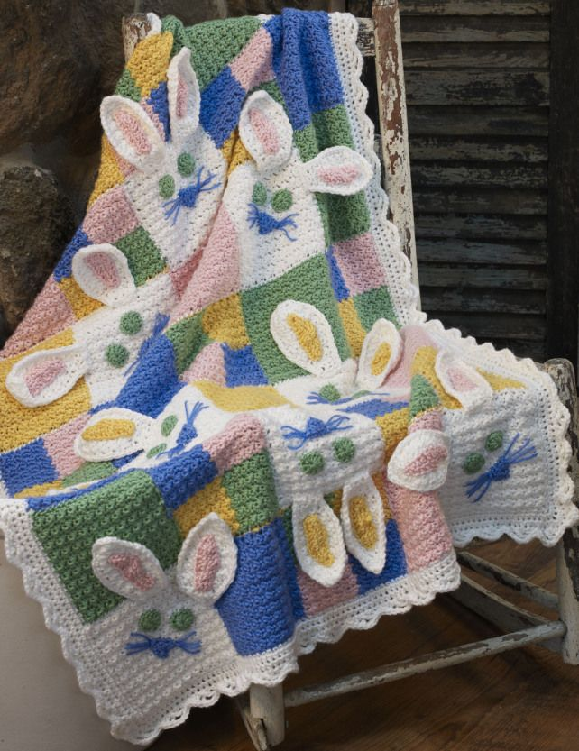 "Have fun making somebunny to love! This sweet Bunny Blanket designed by Deb Richey is perfect for a new born or for any baby showers. Finished size of this beautiful baby blanket is approximately 32""/81.5cm wide x 43""/109cm long, including edging. 10 cute curious little bunny on a blanket!  It might be the cutest thing …"