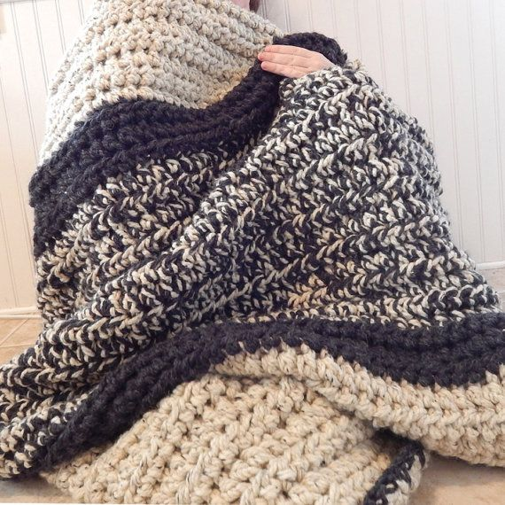 Super Chunky Knit Crochet Blanket Throw Afghan Neutral by theyarrn
